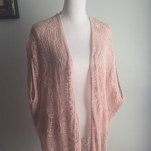 Tops - Crocheted Kimono in Blush